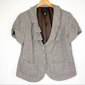 Lane Bryant Short Sleeve Blazer Jacket Size 18 Tan